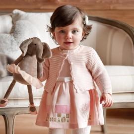 Mayoral 2928-72 Sukienka dziewczęca z haftami kolor róż