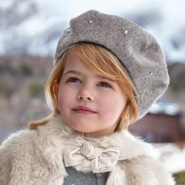 Mayoral 10510-63 Czapka beret dziewczęcy kolor srebrny
