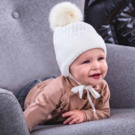 Jamiks DEBI III czapka chłopięca kolor ecri JZB070-1