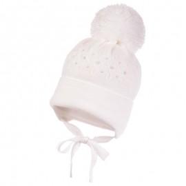 Jamiks JARINA IV czapka dziewczęca kolor biały JZB116-3