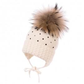 Jamiks SANDRA czapka dziewczęca kolor ekri JZB265-1