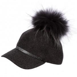 Jamiks SAMIRA czapka dziewczęca z daszkiem kolor popiel JZB256-1