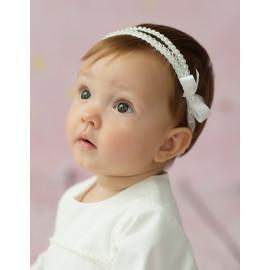 Opaska do chrztu dla dziewczynki Klara kolor krem