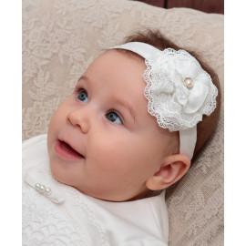 Opaska do chrztu dla dziewczynki Laura kolor krem