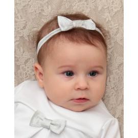 Opaska na chrzest dla dziewczynki Mia kolor biały