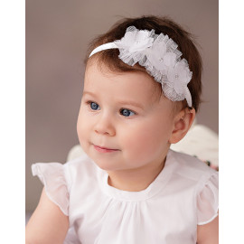 Opaska na chrzest dla dziewczynki Emily kolor biały