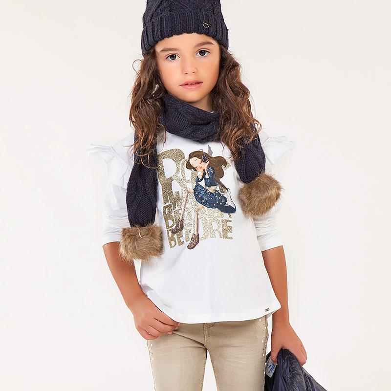 Mayoral 4050-66 Koszulka dla dziewczynki kolor krem