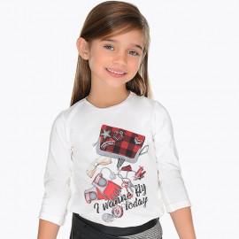 Mayoral 4056-23 Koszulka dziewczęca kolor biały