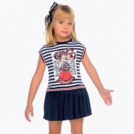 Mayoral 3949-89 Sukienka w paski dziewczęca kolor granat