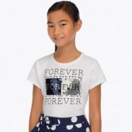 Mayoral 6019-17 Koszulka dziewczęca kolor biały/granat