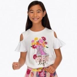 Mayoral 6006-33 Koszulka dziewczęca kolor biały