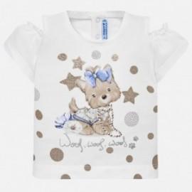 Mayoral 1007-54 Koszulka dziewczęca biała z beżem