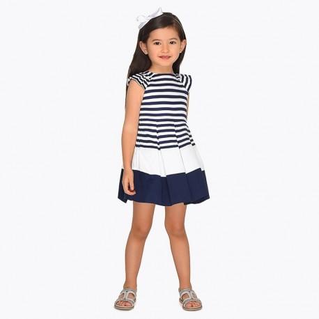Mayoral 3943-65 Sukienka dziewczęca w granatowe paski