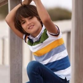 Mayoral 6114-51 Koszulka polo w pasy chłopięca niebieska