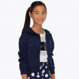 Mayoral 6413-15 Bluza dziewczęca z koronką granat