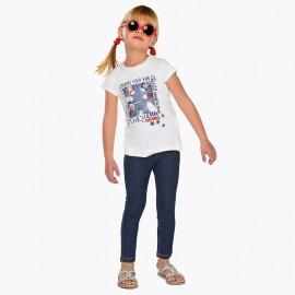 Mayoral 3527-80 Spodnie długie jeans nadruk kolor W groszki