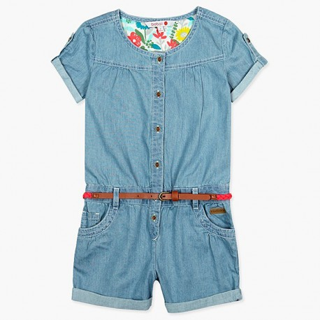 Boboli kombinezon jeans dla dziewczynki niebieski 407012-BLEACH