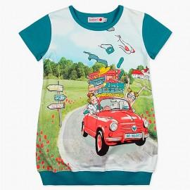 Boboli sukienka dla dziewczynki turkusowa 407023-4460