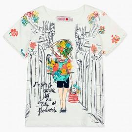 Boboli t-shirt dla dziewczynki biały 407157-1111