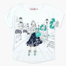 Boboli t-shirt dla dziewczynki biały 417170-1100