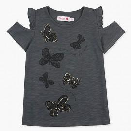 Boboli t-shirt dla dziewczynki grafitowy 427069-8076