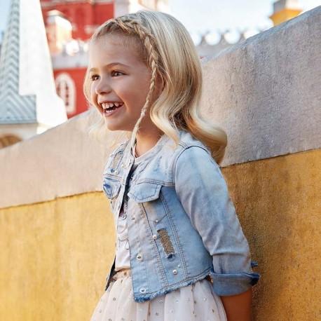Mayoral 3408-49 Kurtka jeans dziewczęca jasno niebieska