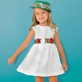 Mayoral 3919-24 Sukienka żakardowa z paskiem biała