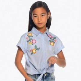 Mayoral 6104-60 Bluzka dziewczęca oxford z haftami niebieska