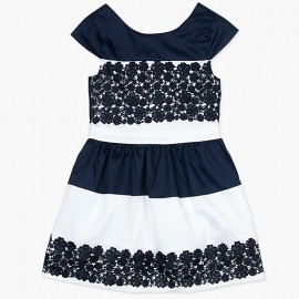 Boboli Satynowa sukienka dla dziewczynki granatowa 727310-2440