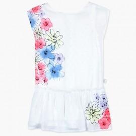 Boboli Szyfonowa sukienka dla dziewczynki biała 727444-1100