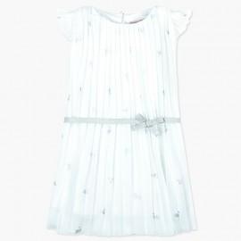 Boboli Szyfonowa sukienka dla dziewczynki biała 727556-9091