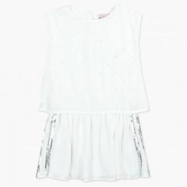 Boboli Szyfonowa sukienka dla dziewczynki biała 727590-1100