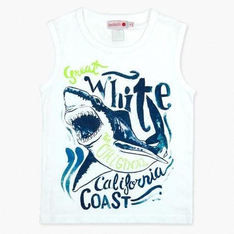 Boboli Bawełniana koszulka dla chłopca biała 837097-1100