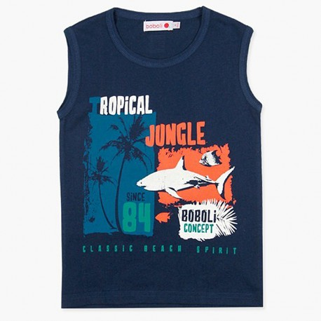 Boboli Bawełniana koszulka dla chłopca granatowa 837198-2440