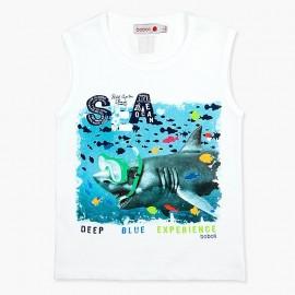 Boboli Bawełniana koszulka dla chłopca biała 837266-1100