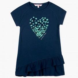 Boboli Dzianinowa sukieneczka dla dziewczynki granatowa 417169-2440