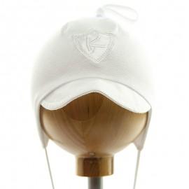Krochetta czapka chłopięca z daszkiem biała 55-461