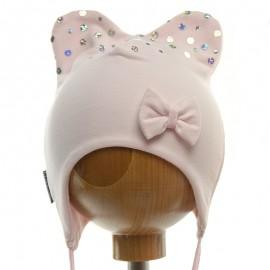 Krochetta czapka dziewczęca różowa 28-461
