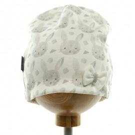 Krochetta czapka dziewczęca biała 48-462