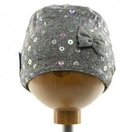 Krochetta czapka dziewczęca przejściowa szara 15-461