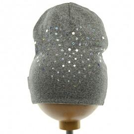 Krochetta czapka dziewczęca szara 43-462
