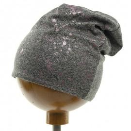 Krochetta czapka dziewczęca przejściowa szara 39-462