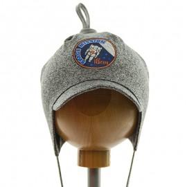 Krochetta czapka chłopięca z daszkiem przejściowa szara 62-461