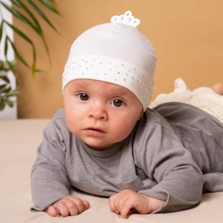Jamiks czapka dziewczęca przejściowa biała ALWA JWB035-1