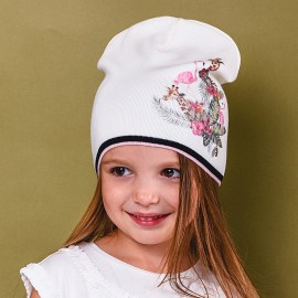 Jamiks czapka dziewczęca przejściowa ekri ARUBA JWB043-2