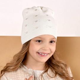 Jamiks czapka dziewczęca przejściowa ekri FIDELIA JWB120-3