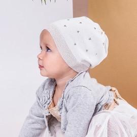 Jamiks czapka dla dziewczynki przejściowa biała ROLETTA JWB090-2