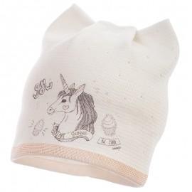 Jamiks czapka dla dziewczynki przejściowa ekri STEJSI JWB128-2