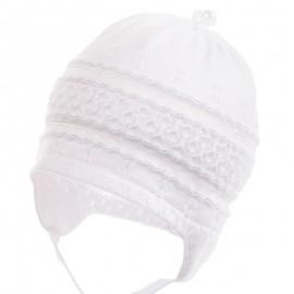 Jamiks czapka dziewczęca przejściowa biała TITA JWB024-1