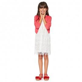 Losan Sukienka koronkowa dla dziewczynki kremowa 914-7791AA-735